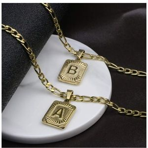 Unisex Gold Initial Letter Necklace with Chain